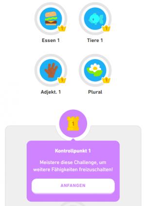 Duolingo-Aufbau-Lektionen-Kontrollpunkt